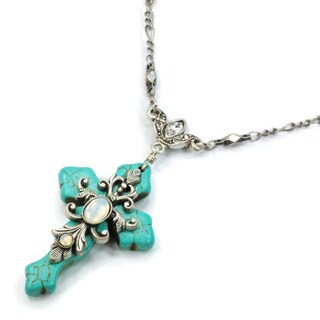 Sweet Romance Turquoise Opal Cross Silver Necklace