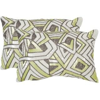 Safavieh Ricci Macaron Green Throw Pillows (12-inches x 18-inches) (Set of 2)