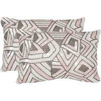 Safavieh Ricci Pale Pink Throw Pillows (12-inches x 18-inches) (Set of 2)