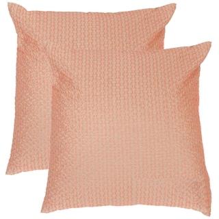 Safavieh Box Stitch Neon Tangerine Throw Pillows (20-inches x 20-inches) (Set of 2)