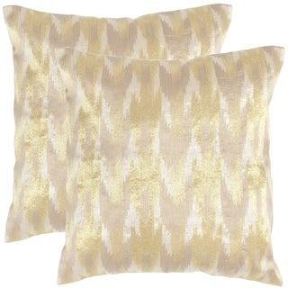 Safavieh Boho Chic 20-inch Metallic Earth Gold Decorative Throw Pillows (Set of 2)