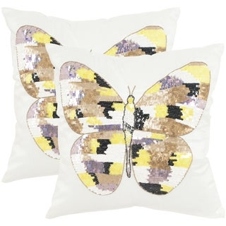 Safavieh Papillon Sorbet Shimmer Throw Pillows (18-inches x 18-inches) (Set of 2)