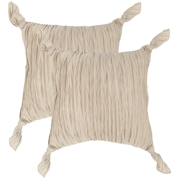 Safavieh Ruche Knots Taupe Throw Pillows (20-inches x 20-inches) (Set of 2)