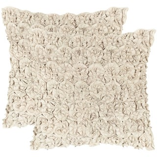 Safavieh Bouquet Champagne Petal Throw Pillows (20-inches x 20-inches) (Set of 2)