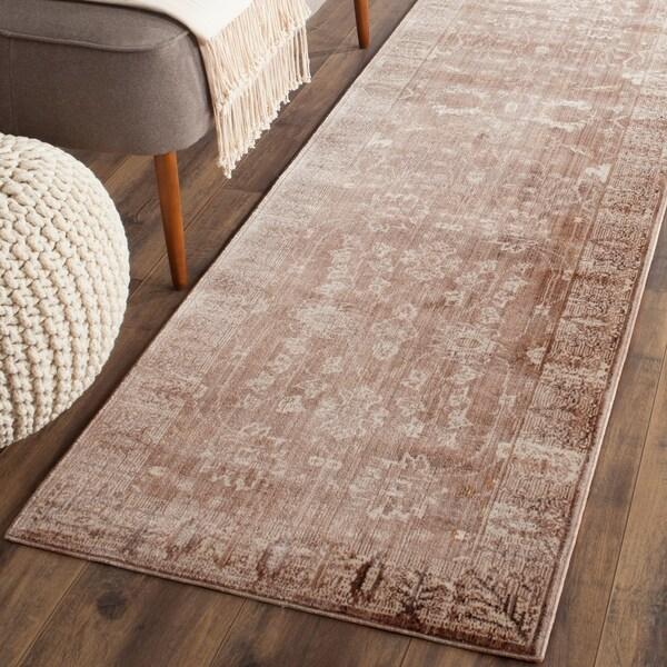 Safavieh Valencia Brown/ Beige Distressed Silky Polyester Rug - 2'3 x 8'