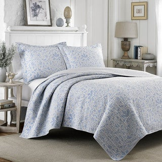 Laura Ashley Mia Pebble Blue/ Grey Reversible Cotton 3-piece Quilt Set