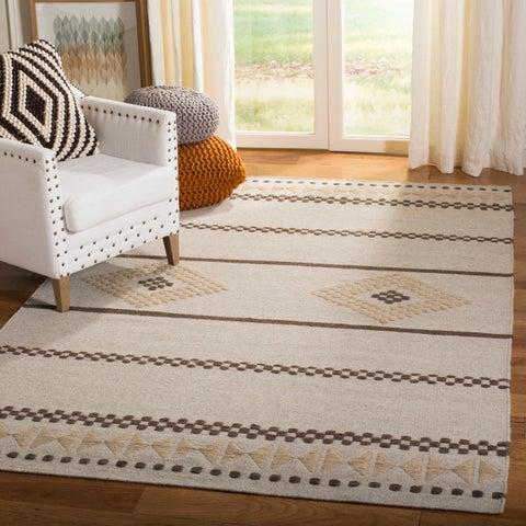 Safavieh Hand-woven Dhurrie Flatweave Natural/ Brown Wool Rug - 5' x 8'