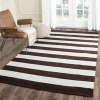 Safavieh Hand-woven Montauk Chocolate/ Ivory Cotton Rug - 5' x 8'