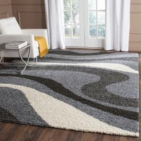 Safavieh Contemporary Shag Grey/ Ivory Area Rug (5'3 x 7'6)