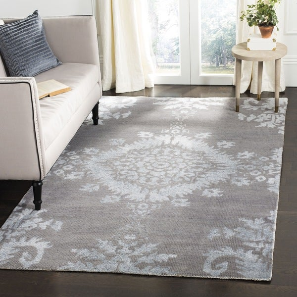 Safavieh Hand-knotted Stone Wash Grey Wool Rug (5' x 8')