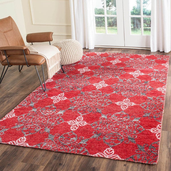 Safavieh Hand-knotted Stone Wash Red/ Ivory Wool Rug - 5' x 8'