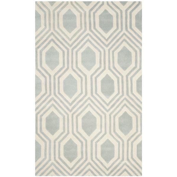 Safavieh Handmade Chatham Grey/ Ivory Wool Rug (4' x 6')