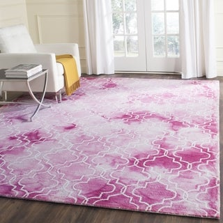 Safavieh Handmade Dip Dye Watercolor Vintage Rose/ Ivory Wool Rug (4' x 6')