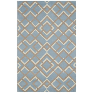 Blue/ Taupe/ White Bradberry Downs Collection 100-percent Wool Accent Rug (5' x 8')