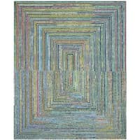 Safavieh Handmade Nantucket Teal Cotton Rug - 4' x 6'