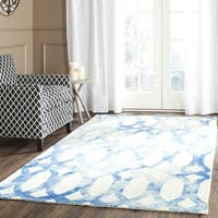 Safavieh Handmade Dip Dye Watercolor Vintage Ivory/ Blue Wool Rug - 5' Square
