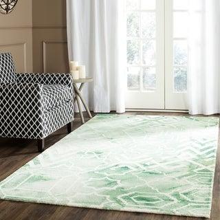 Safavieh Handmade Dip Dye Watercolor Vintage Green/ Ivory Wool Rug (5' Square)