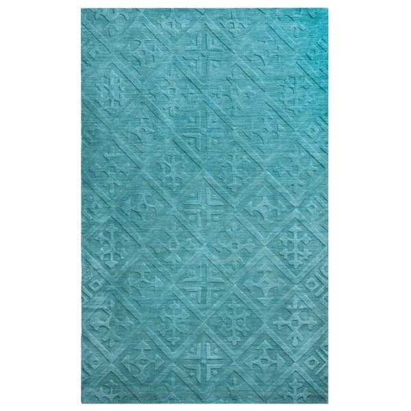 Blue Technique Collection 100-percent Wool Accent Rug (8' x 10') - 8' x 10'