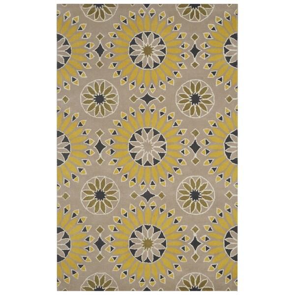 Beige/ Gold/ Dark Gold/ Black/ White Bradberry Downs Collection 100-percent Wool Accent Rug (5' x 8')