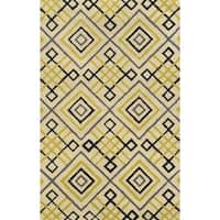 Beige/ Gold/ Black/ Charcoal Bradberry Downs Collection 100-percent Wool Accent Rug - 5' x 8'