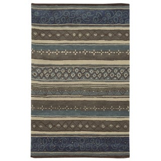 Grey/ Blue/ Beige/ Taupe/ Brown Bradberry Downs Collection 100-percent Wool Accent Rug (5' x 8')