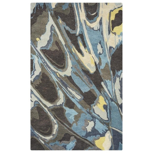Beige/ Grey/ Charcoal/ Gold/ Aqua/ Teal Bradberry Downs Collection 100-percent Wool Accent Rug (5' x 8')