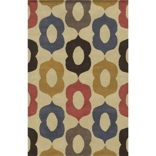 Beige/ Blue/ Rust/ Gold/ Grey/ Chocolate Bradberry Downs Collection 100-percent Wool Accent Rug (5' x 8') - 5' x 8'