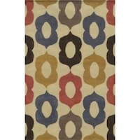 Beige/ Blue/ Rust/ Gold/ Grey/ Chocolate Bradberry Downs Collection 100-percent Wool Accent Rug - 5' x 8'
