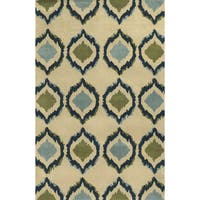 Ivory/ Indigo/ Lime Green/ Light Blue Bradberry Downs Collection 100-percent Wool Accent Rug (8' x 10')