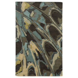 Beige/ Grey/ Charcoal/ Gold/ Aqua/ Teal Bradberry Downs Collection 100-percent Wool Accent Rug (8' x 10')