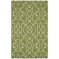 Green/ White Bradberry Downs Collection 100-percent Wool Accent Rug - 5' x 8'