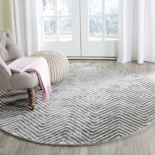 Safavieh Hand-Tufted Soho Ivory/ Grey N.Z. Wool Rug (6' Round)