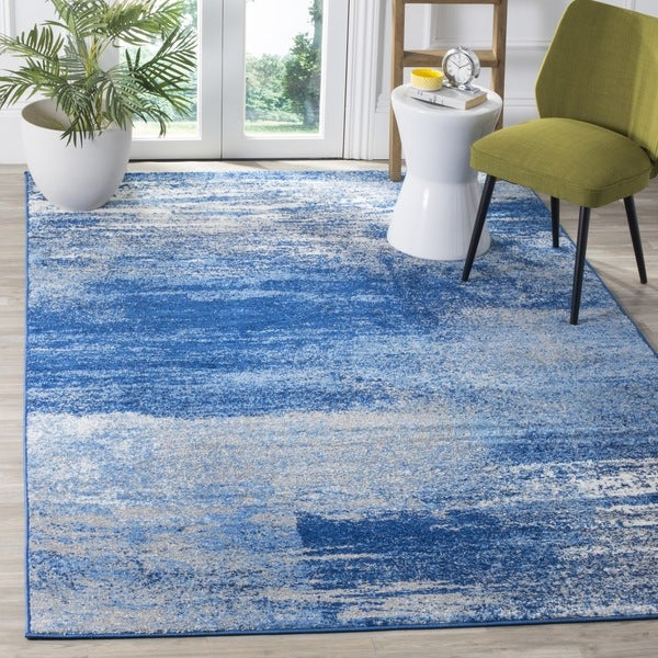 Safavieh Adirondack Modern Abstract Silver/ Blue Rug - 6' Square