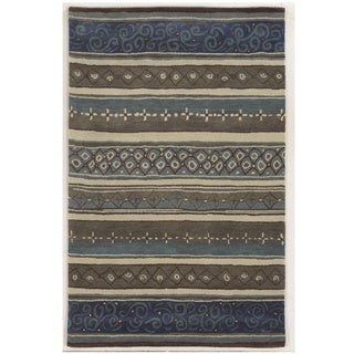 Grey/ Blue/ Beige/ Taupe/ Brown Bradberry Downs Collection 100-percent Wool Accent Rug (2' x 3')