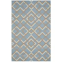 Blue/ Taupe/ White Bradberry Downs Collection 100-percent Wool Accent Rug (2' x 3')
