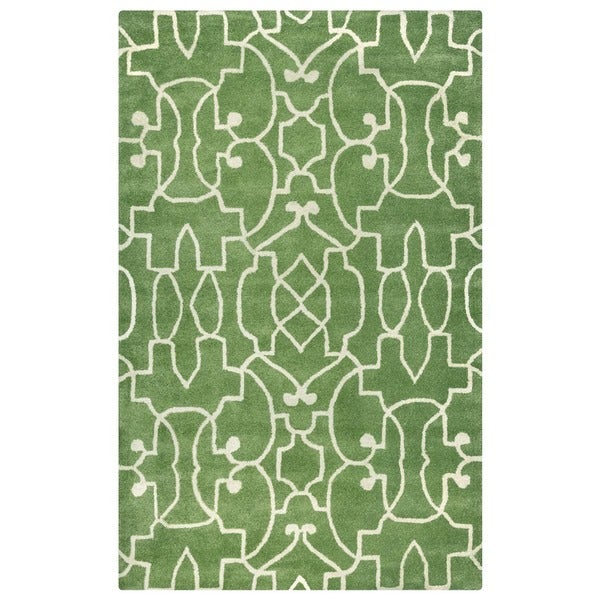 Green/ White Bradberry Downs Collection 100-percent Wool Accent Rug (2' x 3') - 2' x 3'