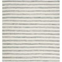Safavieh Hand-Woven Dhurries Grey/ Ivory Wool Rug - 6' x 6' Square