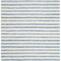 Safavieh Hand-Woven Dhurries Blue/ Ivory Wool Rug - 6' Square