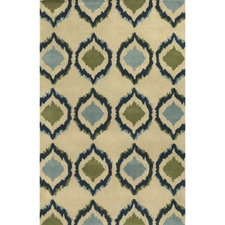 Ivory/ Indigo/ Lime Green/ Light Blue Bradberry Downs Collection 100-percent Wool Accent Rug (2' x 3')