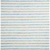 Safavieh Hand-Woven Dhurries Aqua/ Ivory Wool Rug - 6' Square