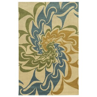Ivory/ Gold/ Teal/ Lime Bradberry Downs Collection 100-percent Wool Accent Rug (3' x 5')