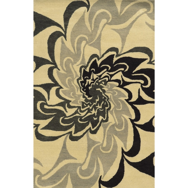 Black/ Beige/ Grey Bradberry Downs Collection 100-percent Wool Accent Rug (3' x 5') - 3' x 5'