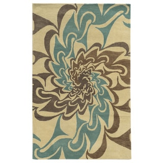 Ivory/ Teal/ Brown/ Medium Brown Bradberry Downs Collection 100-percent Wool Accent Rug (8' x 10') - 8' x 10'