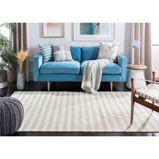Safavieh Hand-Woven Dhurries Light Blue/ Ivory Wool Rug (6' Square)