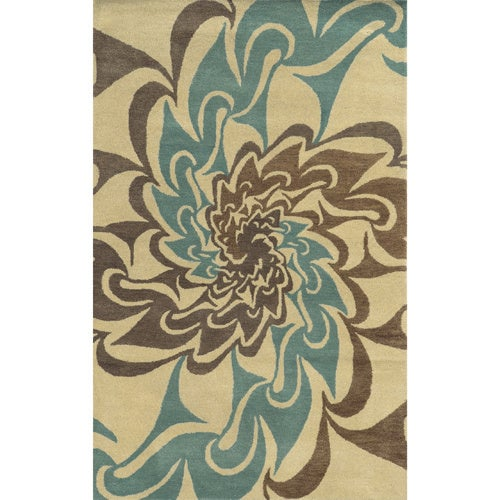 Ivory/ Teal/ Brown/ Medium Brown Bradberry Downs Collection 100-percent Wool Accent Rug - 5' x 8'