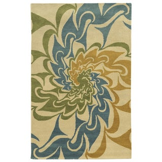Ivory/ Gold/ Teal/ Lime Bradberry Downs Collection 100-percent Wool Accent Rug (8' x 10') - 8' x 10'