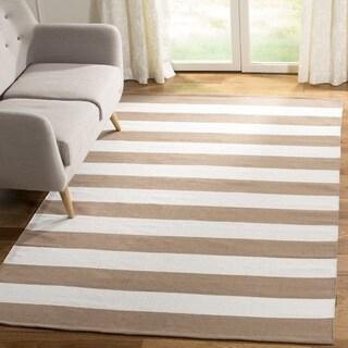 Safavieh Hand-woven Montauk Sand/ Ivory Cotton Rug (6' Square)