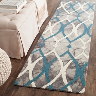Safavieh Handmade Dip Dye Watercolor Vintage Grey/ Ivory Blue Wool Rug (2'3 x 6')