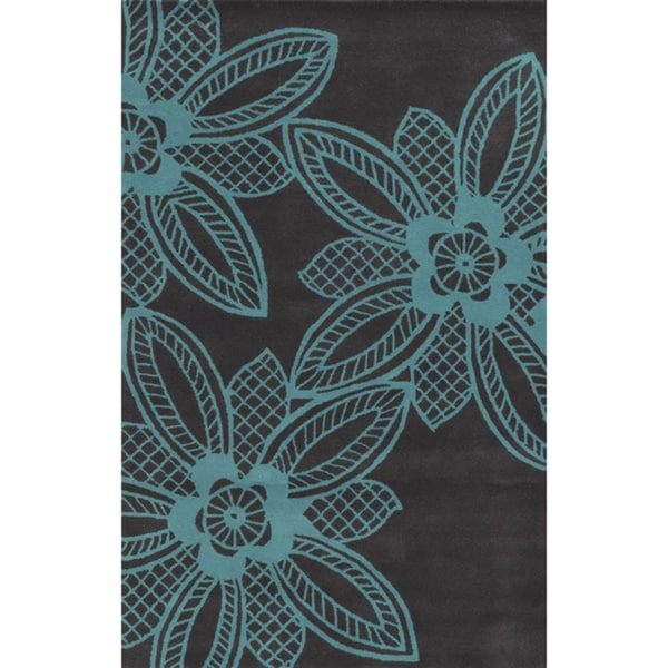 Grey/ Turquoise Bradberry Downs Collection 100-percent Wool Accent Rug (5' x 8')