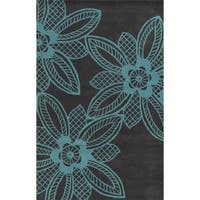 Grey/ Turquoise Bradberry Downs Collection 100-percent Wool Accent Rug - 5' x 8'